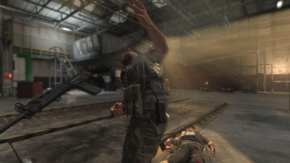 Kuva 11. Hidastettu lähikuva kohtauksen viimeisen vihollisen kuolemasta (Max Payne 3).