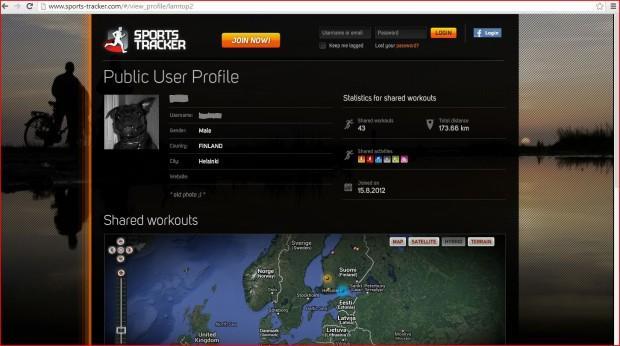 Kuva 3. Sports Trackerin julkisesta profiilista käyvät ilmi muun muassa jaettujen suoritusten määrä, harrastetut lajit, liittymispäivä ja harjoituskilometrien yhteismäärä. (Sports Tracker 2014.)