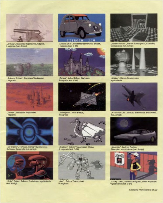 gallery of computer graphics made with the C-64 and Amiga