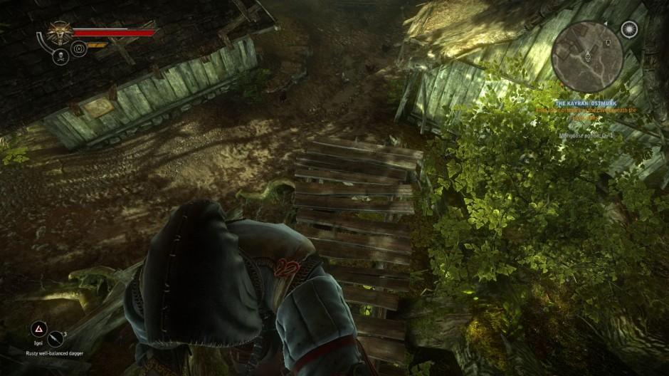 Kuva 4. Pakotettu kuvakulma tikkaita alas kiivettäessä (Witcher 2, 2011).